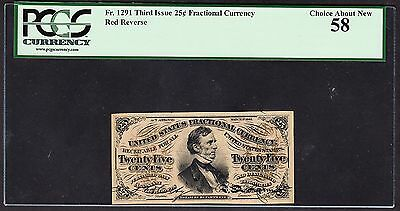 US 25c Fractional Currency Third Issue Red Back FR 1291 PCGS 58 Ch AU