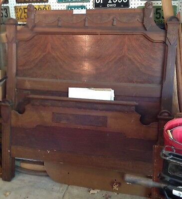"Antique Walnut Bed Frame - Odd Sized 54"" x 72"" (between Twin & Full)"