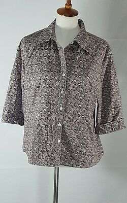 60929d6a Kim Rogers Womens Size XL Brown and White Floral Button Down Shirt / Blouse