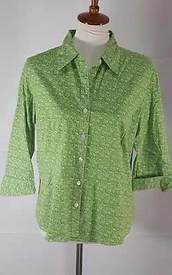 84633f98 Kim Rogers Womens Size XL Green and White Floral Button Down Blouse Shirt  Top