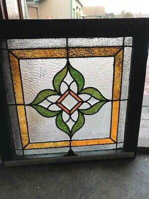 Sg 1831 Antique Stainglass Window Bevel Centers 23.25 X 24
