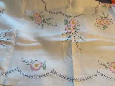 Vintage / Antique Floral Embroidered Table Cloth #1
