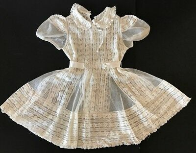 Antique Vintage Edwardian Childs Girls Ivory Full Lace Dress Easter Occasion