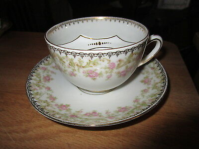 Antique IMPERIAL China Austria Mustache Cup & Saucer - Pink Roses w/Gold Trim