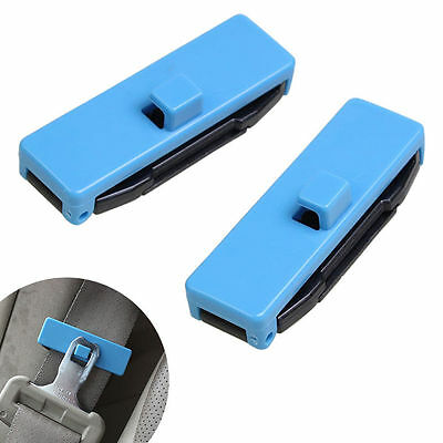 1 Pair Car Auto Seat Belt Adjuster Locking Stopper Safty Aid. Blue. UK Supplier