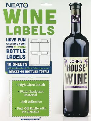 Neato Blank Wine Bottle Labels - 40 Pack - Vinyl, Water Resistant, For Ink Je...