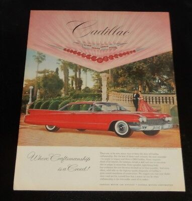 Gorgeous 1960 Cadillac Coupe De Ville In Bright Red Ad - Vintage American 60S