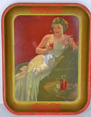 Vintage 1936 Coca Cola Tray The American Art  Woman in Evening Gown With Coke