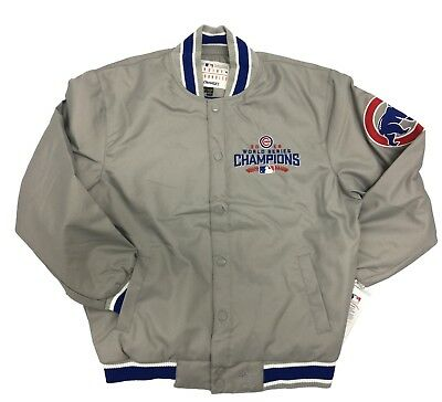 JH Designs Grey MLB Chicago Cubs 2016 Champion Bomber Jacket