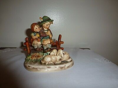 "Vintage Goebel Figurine Boy Girl w/2 Baby Lambs ""Eventide"" W. Germany Excellent"