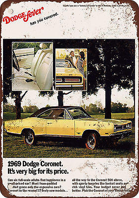 """7"""" x 10"""" Metal Sign - 1969 Dodge Coronet - Vintage Look Reproduction"""