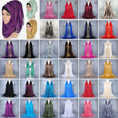 Women Muslim Islamic Tassel Long Hijab Scarf Shawl Wrap Pashmina Stole Lot