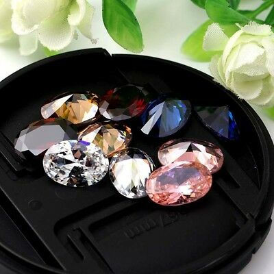 Yellow Sapphire Artificial Loose Gemstone Gem Oval Shape Jewelry Gift 10x14mm