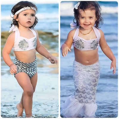 Toddler Kids Baby Girls Mermaid Bikini Set Swimwear Swimsuit Bathing Beachwear