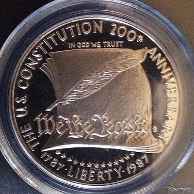 PSGS PR69 1987-S PROOF SILVER DEEP CAMEO 1 DOLLAR Constitution UNITED STATE