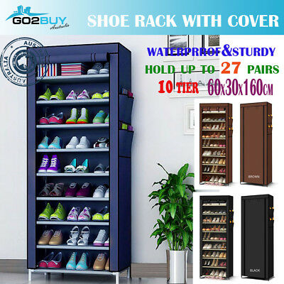 Shoe Rack Stackable Cabinet Storage Organizer Portable Wardrobe With Cover