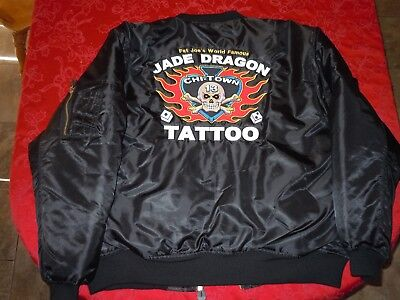 """chicago's world famous jade dragon tattoo """"fat joes"""" authentic xxl jacket """"Rare"""""""