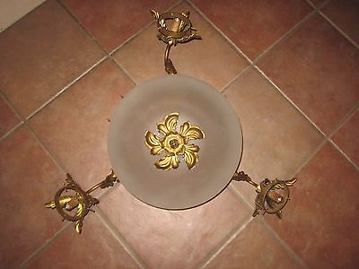 """antique ornate 3 arm light fixture with center shade Victorian 27"""" wide"""