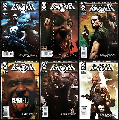 Punisher Max #31 32 33 34 35 36 (2006). 1st Barracuda & complete story arc