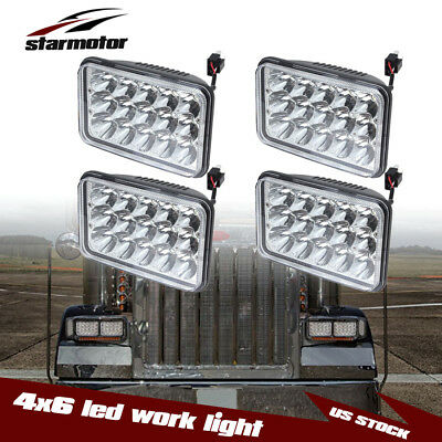 4x6 High/Low Sealed Beam LED Headlights For Kenworth T800 T400 T600 W900 (4Pack)