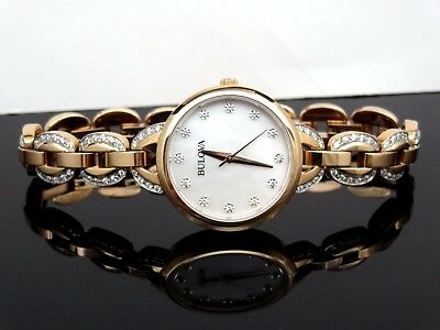 Bulova 98L207 Rose Gold Tone Crystal Mother-of-Pearl Dial Women's Watch