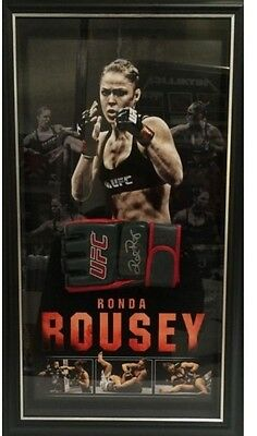 Ronda Rousey Hand Signed Framed Ufc Glove With Backdrop