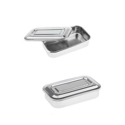 2pc Stainless Steel Instrument Tray With Lid Medical Dental Storage Box Case