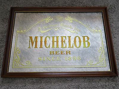 "MICHELOB BEER Since 1896 Mirror Bar Sign 18""x26"" Vintage Anheuser- Busch,Inc."