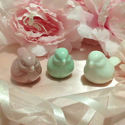 New Miniature Birds x (3) Pink, Green & White! Very sweet and Pretty! Last Set!