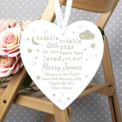 Personalised Twinkle Twinkle Large Wooden Heart Decoration Birthday, New Baby