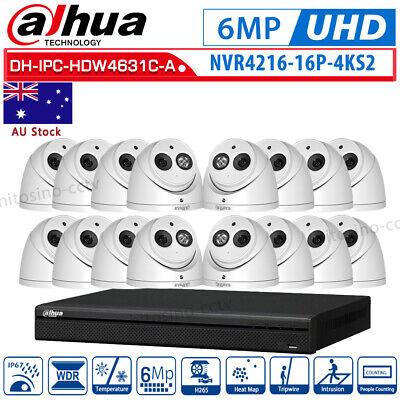 Dahua HD 6MP H.265 Built-in MIC Plug&Play 16 Channel 16PoE Security CCTV System