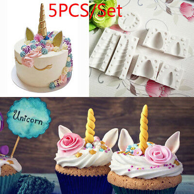 5Pcs/Set 3D Unicorn Baby Silicone Mold Cake Fondant Sugarcraft Mould Baking Tool