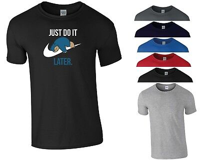 Just Do It Later T Shirt Pokemon Funny Lazy Nike Swoosh Christmas Gift Men Top
