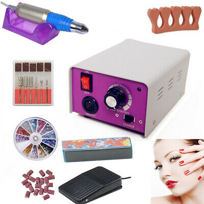 Pro electric acrylic nail drill file machine kit with sand bits Manicure set USA