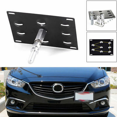 Car Black Front Bumper Tow Hook License Plate Mounting Bracket Holder For Mazda