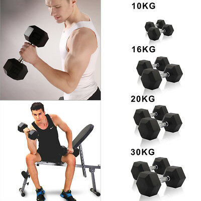 10kg-30KG Rubber Encased Dumbbell Hex Weights Gym Fitness/Workout/Weight Lifting