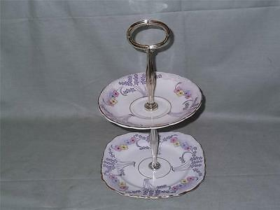 Colclough Bone China Small 2-Tier Biscuit Cake Plate Stand Deco Pattern No.1524