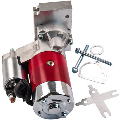 Fit Chevy 3HP Mini Starter Motor Red - Dual Inline 153 168 Tooth 305 350 SBC BBC