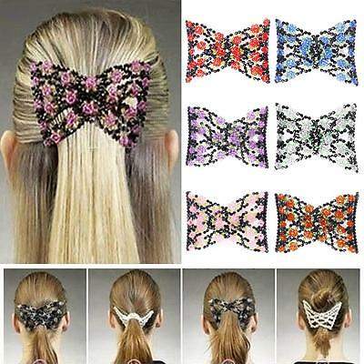 Elastic Stretch Rose Bow Glass Bead Cuff Clips Headwear Hair Comb BY &D2