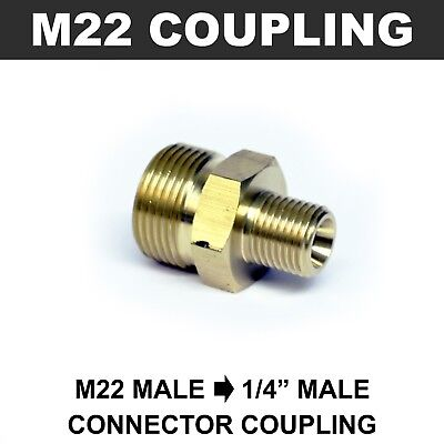 "M22 Male to 1/4"" Male Coupling Connector BRASS Pressure Washer Hose Adapter"