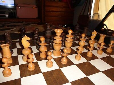Antique Vtg French Chess Set Hand Carved Dark Brown And Golden Wood Rare Find