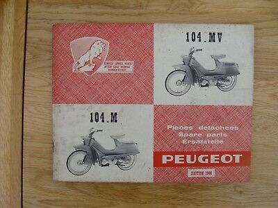 PEUGEOT 104.M & 104.MV  Spare Parts Book (GENUINE  MANUAL) With Without Variator