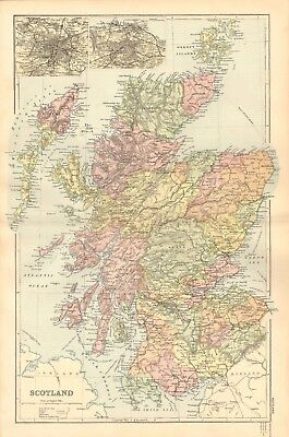 1895 Antique Map - Scotland Including Islands, Insets Glasgow, Edinburgh