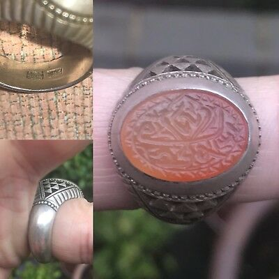Antique 19th C Islamic Arabic Persian Calligraphy Solid Silver Agate Ring Signed