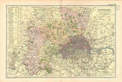 1895 Antique Map - Middlesex, Watford, Staines, Tottenham,Woolwich,Greenwich