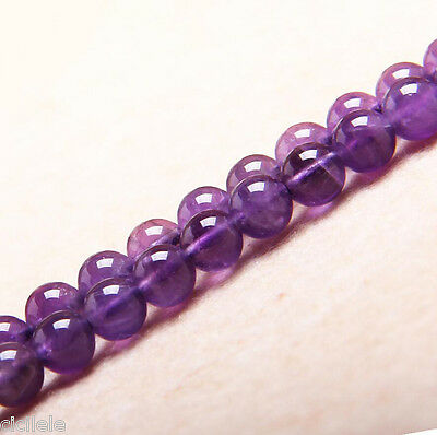 8mm Natural Round Amethyst Jewelry Loose Gemstone Stone Beads DIY Strand 15""