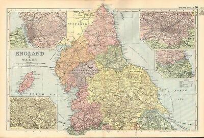 1895 Antique Map - England And Wales, Northern England,Manchester,Liverpool,Leed