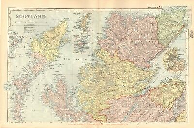 1895 Antique Map - Scotland, North, Central And South, 3 Maps