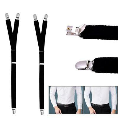 1Pair Men Garter Belt Leg Suspenders Shirt Braces Elastic Strap Non-slip FT