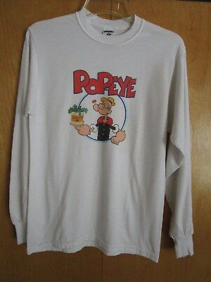 """Popeye white long sleeve t-shirt, size M, by """" Jerzees"""""""